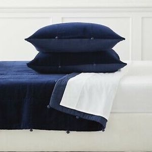 NEW Serena & Lily Townsend Navy Velvet TWO Shams